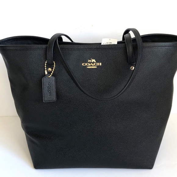 79dd41a91f ️Coach black leather large street tote bag